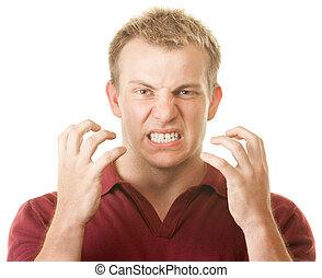 zangado, homem, clenching dentes