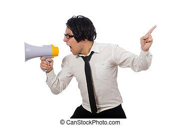 zangado, homem, com, alto-falante, isolado, branco