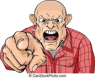 zangado, homem, com, cabeça barbeada, shouting, e, apontar