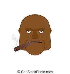 zangado, homem, com, cigar., agressivo, africano, rosto