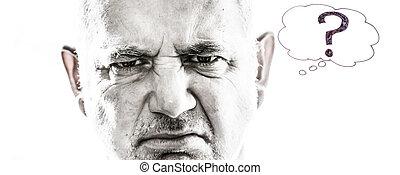 zangado, homem, com, perguntas