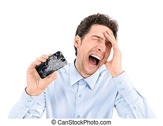 zangado, homem, mostrando, quebrada, smartphone