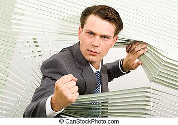 zangado, homem negócios
