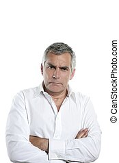 zangado, homem negócios, sênior, cabelo cinza, sério, homem