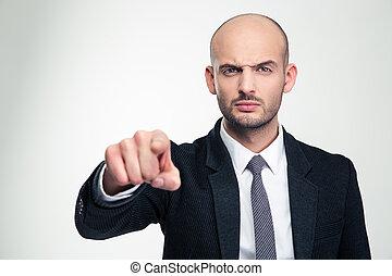 zangado, homem negócios, terno preto, apontar, bonito, tu