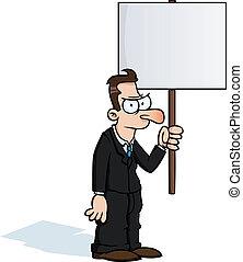 zangado, homem, protesto, sinal negócio