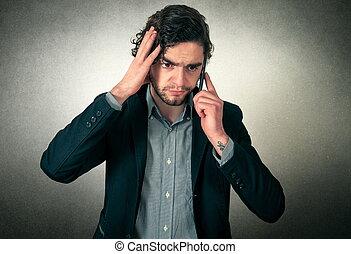 zangado, homem, telefone
