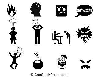 zangado, jogo, pretas, ícones