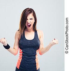 zangado, jovem, condicão física, mulher, gritando