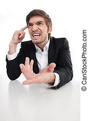 zangado, jovem, isolado,  shouting, enquanto, homem negócios, homem negócios, branca, Gesticule