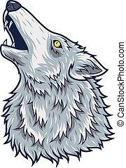 zangado, lobo, caricatura, cabeça, mascote