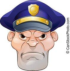 zangado, má, caricatura, policial