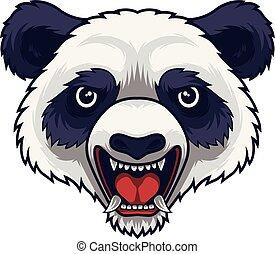 zangado, mascote, cabeça, panda