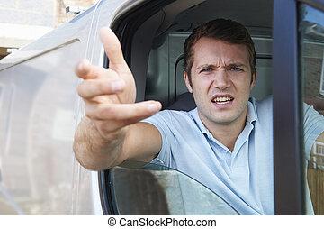 zangado, motorista, em, furgão