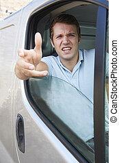 zangado, motorista, em, roda, de, furgão