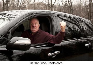 zangado, motorista, waving, janela, punho, abertos