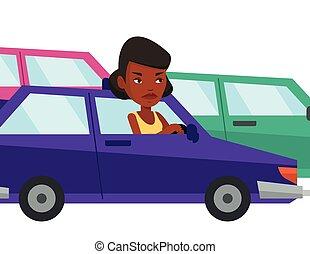zangado, mulher africana, carro, meteu trânsito, jam.