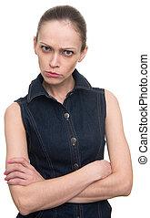 zangado, ofendido, mulher olha, câmera