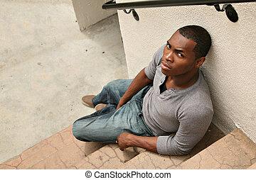 zangado, olhando jovem, americano, africano, sério, homem