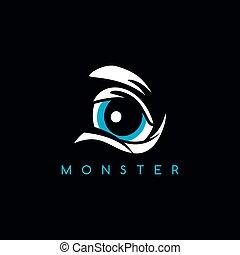 zangado, olho, monstro