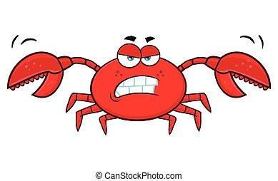 zangado, personagem, caricatura, carangueijo, mascote