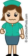 zangado, personagem, enfermeira, caricatura