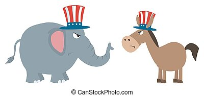 zangado, político, elefante, vs, burro