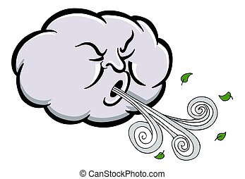 zangado, soprando, nuvem, vento