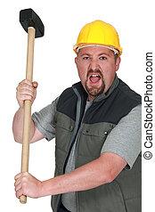 zangado, tradesman, segurando, malho