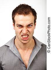 zangado, transtorne, homem, com, assustador, rosto
