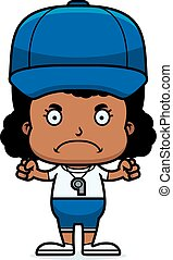 zangado, treinador, caricatura, menina
