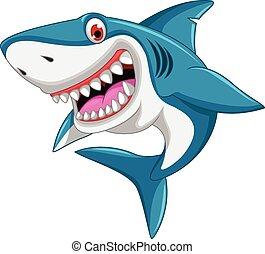zangado, tubarão, caricatura