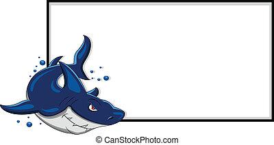 zangado, tubarão, com, sinal branco