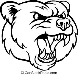 zangado, urso pardo, esportes, rosto, mascote