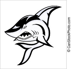 zangado, vetorial, tubarão, mascote