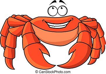 zange, karikatur, groß, krabbe, feundliches , rotes