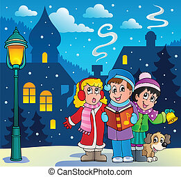 zangers, carol, 3, thema, kerstmis
