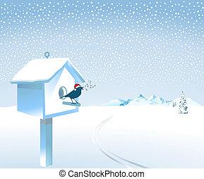 zangvogel, sneeuw, kerstman