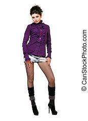 zanquilargo, mujer joven, en, un, falda mahón