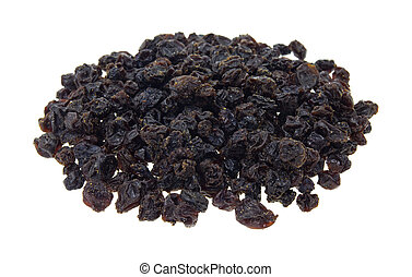 A small serving of zante currants on a white background.