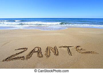 zante, geschreven, op, zandig strand