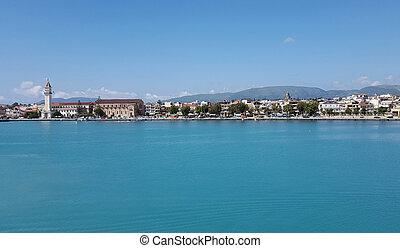 Zante town panorama from the sea on Zakynthos island, Greece...