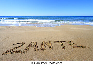 Zante written on sandy beach