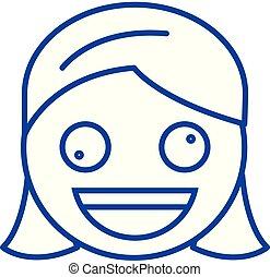 Zany face emoji line icon concept. Zany face emoji flat...