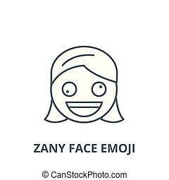 Zany face emoji vector line icon, linear concept, outline...