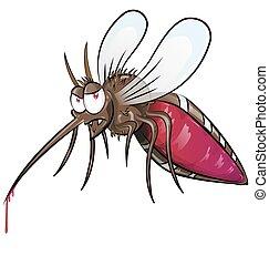 zanzara, cartone animato, isolato
