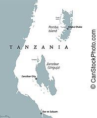 Zanzibar and Pemba Tanzania political map