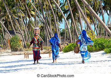 zanzibar, playa, arenoso, mujeres