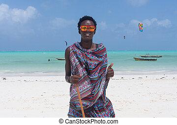 zanzibar, sandstrand, tansania, traditonaly, angezogene , paje, schwarz, afrika., osten, mann