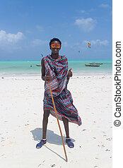 zanzibar, spiaggia, tanzania, traditonaly, vestito, paje, nero, africa., est, uomo